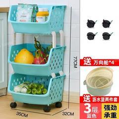 厨房置物架落地多层免打孔蔬菜收纳架厨房收纳菜架子可移动小推车