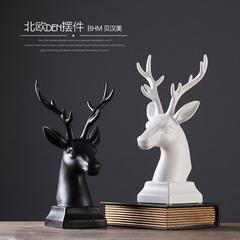 贝汉美北欧现代简约家居客厅摆件 桌面玄关酒柜装饰品创意鹿头