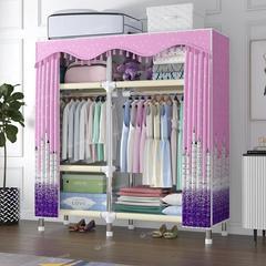 布衣柜钢管加粗加固简易衣柜大号双人单人挂衣架卧室组装收纳柜