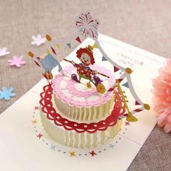小丑蛋糕贺卡3d韩国创意手工立体折叠卡片ins高档代手写字带信封
