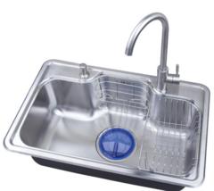 乐肯厨房304不锈钢单槽水槽套餐一体厚台上下洗菜盆洗碗水池水盆LK6543