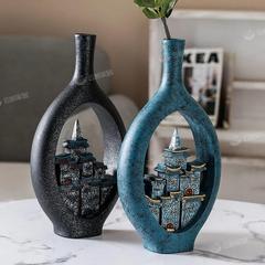 新中式禅意创意古屋花瓶摆件客厅插花电视柜办公室插花装饰品
