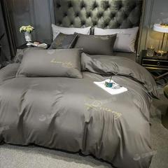 北欧轻奢风水洗棉四件套裸睡纯色被套学生宿舍单双人三件套床笠款