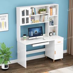组合电脑台式桌书桌书架写字家用学生书柜书架一体简约卧室学习桌