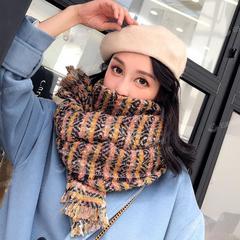 圈圈彩纱条长款冬季女士围巾加厚保暖韩版潮百搭学生披肩围巾两用