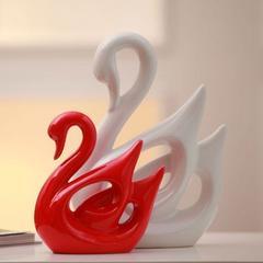 贝汉美 家居饰品创意新房装饰摆件陶瓷电视柜结婚礼物红白天鹅