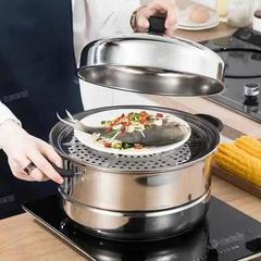 不锈钢蒸锅三层双2层加厚蒸笼汤锅大号蒸锅电磁炉煤气锅具26-32cm