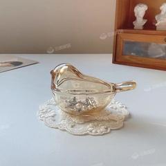 韩国ins风琥珀色小鸟玻璃耳环戒指首饰收纳罐子摆件房间装饰盒子