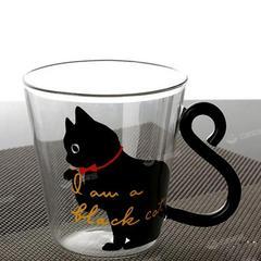 日本风ins黑白猫咪耐热玻璃杯家用创意早餐杯牛奶杯茶水杯猫爪杯