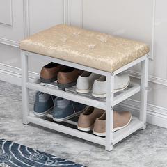 家用门口休息换鞋架简易多层储物鞋柜可坐铁艺软包多功能穿鞋凳子