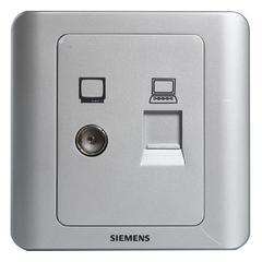 西门子(SIEMENS)开关插座 远景系列 电视+电脑插座面板(银色)