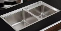 乐肯 厨房手工不锈钢盆加厚不锈钢手工水槽双槽台上盆洗菜盆LK7541