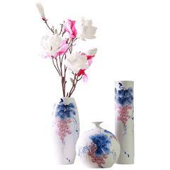 新中式现代夏日硕果陶瓷花瓶三件套样板间家居饰品装饰瓷花瓶摆件