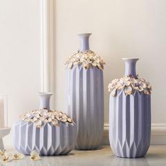 欧式陶瓷花瓶套装美式紫色客厅装饰品现代创意酒柜电视柜摆件