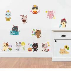 网红款猫咪贴画卡通动物小鸡床头橱柜冰箱楼道书架墙装饰蝴蝶花朵