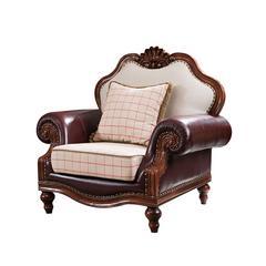 H-889简欧家具1+2+3皮布结合简美沙发