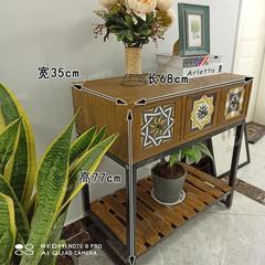 风格装饰柜子 复古铁艺斗柜 收纳储物柜 实木长条桌子玄关柜