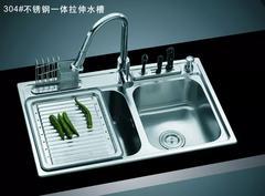 乐肯手工304不锈钢盆加厚不锈钢手工水槽双槽台上盆洗菜盆LK8050