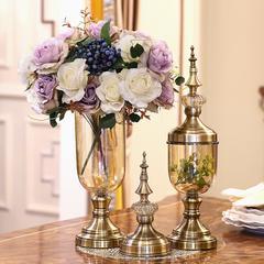 HG615铜底玻璃将军罐高矮+蓝紫梦幻玫2束+眼眉叶1束+绿莓2枝