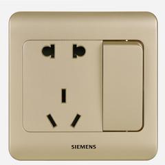 西门子(SIEMENS)开关插座 远景系列 10A五孔带开关面板 (金棕色)