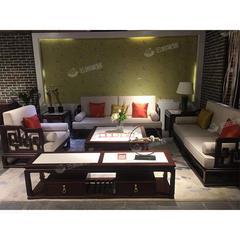 新中式实木沙发组合胡桃木家具客厅小户型现代简约冬夏两用木沙发(自提免运费)