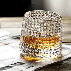 加厚旋转水晶玻璃酒杯ins风北欧威士忌杯创意个性洋酒不倒翁杯子