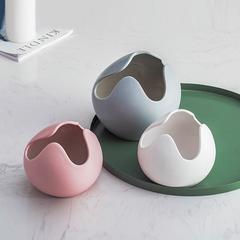 北欧简约陶瓷花瓶摆件家居客厅酒柜台面装饰品花瓶创意马卡龙花器 粉色