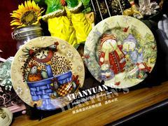 美国2006年艺术家款圣诞节田园风格雪人一家彩色竹篮公鸡陶瓷餐盘子