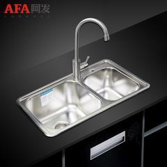 阿发304不锈钢厨房水槽套餐 手工拉丝双槽加厚洗碗盆7443+1004