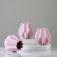 贝汉美 欧式简约花瓶 彩色陶瓷折纸花瓶酒柜客厅桌面时尚软装饰品摆件