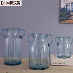 贝汉美 花瓶摆件简约现代客厅装饰玻璃花瓶家居装饰摆设透明气泡玻璃花器 七夕 小号不含风信子