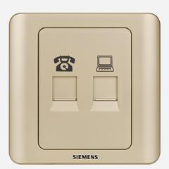 西门子(SIEMENS)开关插座 远景系列 电话+电脑插座面板 (金棕色)