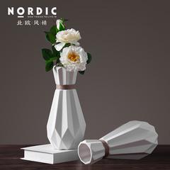 北欧简约创意折纸陶瓷插花麻绳花瓶 客厅桌面餐厅小清新装饰品