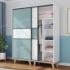 衣柜简约现代简易推拉门实木质家用卧室出租房用柜子移门儿童衣橱