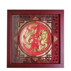 漆线雕(厦门)龙凤呈祥裱框摆件  陶瓷器工艺品 纯手工制作