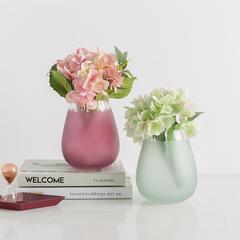 贝汉美 北欧水培玻璃花瓶彩色小清新简约家居装饰品餐桌客厅插花花瓶摆件 紫红色(不含花)