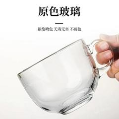 2件套北欧茶色玻璃燕麦早餐杯家用耐热大容量牛奶杯带盖勺马克杯