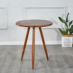 北欧简约木桌小户型金属原木小圆桌仿实木边几角几茶桌洽谈小圆桌