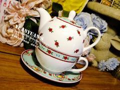 韩国新款清新小碎花优质骨瓷一人一壶套装咖啡下午茶杯壶套装盒装