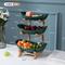高档水果盘北欧客厅茶几创意多层结婚果盘家用糖果盘零食盘干果盘 实木款三层果盘(北欧风米色)