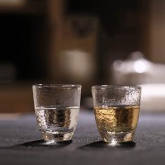 手工耐热玻璃品茗杯水波纹功夫小茶杯闻香杯茶杯 透明锤纹小杯子