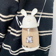水杯女便携可爱带吸管耐高温兔兔塑料杯韩式学生超萌高颜值杯子