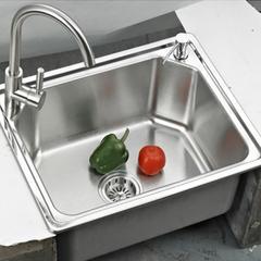 乐肯手工304不锈钢盆加厚不锈钢手工水槽单槽台洗菜盆 单槽LK5843(单盆)