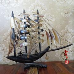 牛角帆船 70年代左右 做工精细 保存完整 古玩杂项 民俗怀旧老货
