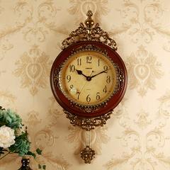 丽盛欧式挂钟复古静音客厅时钟创意摇摆钟表美式石英钟装饰挂表