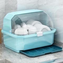 装碗筷收纳盒放碗箱沥水碗架厨房家用带盖杯架碗碟置物架塑料碗柜