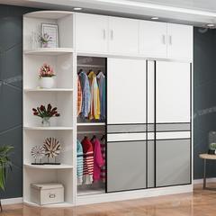 衣柜现代简约推拉门家用卧室小户型板式组装出租房用大衣橱经济型