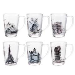 居元素水杯套装玻璃杯带把情侣马克杯办公室家用杯具创意杯子布迪