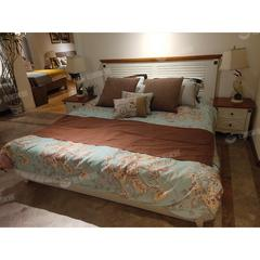 地中海风简约卧室高档1.8米床床头柜组合套装(自提免运费)