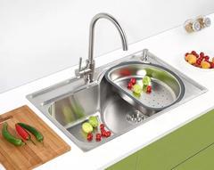 乐肯手工304不锈钢盆加厚不锈钢手工水槽单槽台上盆洗菜盆LK7843